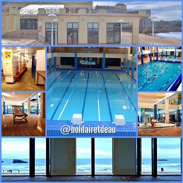 collage photos de la piscine municipale de Biarritz