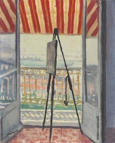 Le balcon au store rayé par AlbertMarquet